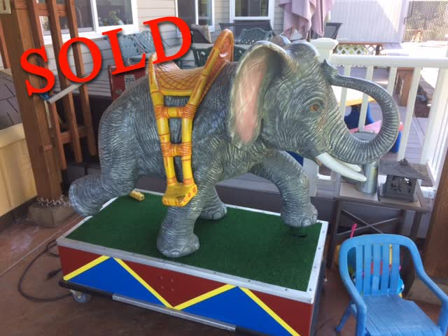 1960's Coin Operated Kiddie Ride Elephant / Baby Tusko