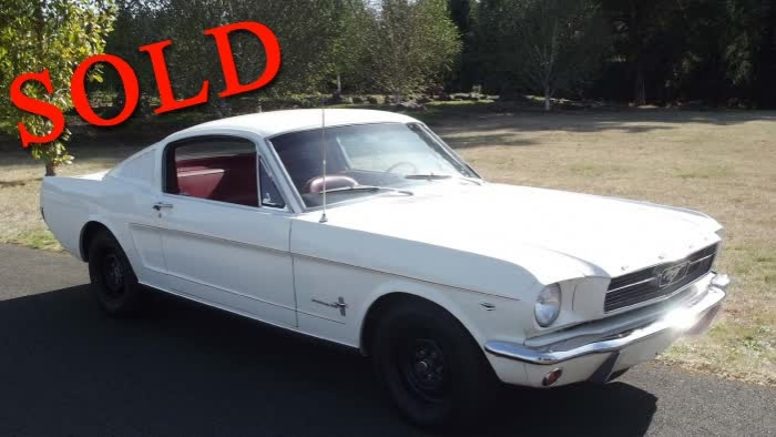 1966 Ford Mustang Fastback 2+2 Wimbledon White / Red Interior <font color=red>*SOLD*</font color>