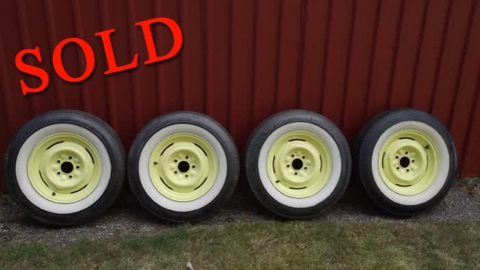 Used Parts - Set of 4 1955 Chevrolet Bel Air Stock Wheels, Hubcaps, & Wide White Wall Tires