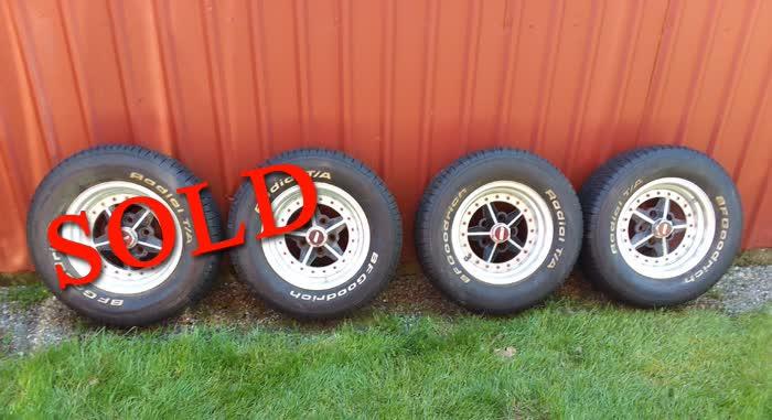 Set of (4) 14x7 Enkie 5 Spoke Polished Aluminum Wheels <font color=red>*SOLD*</font color>