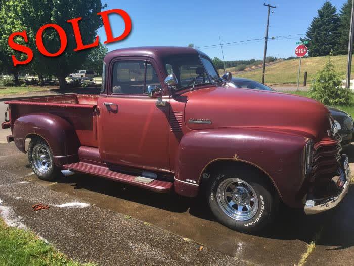 1952 Chevrolet 3100 1/2 Ton Pickup <font color=red>*SOLD*</font color>