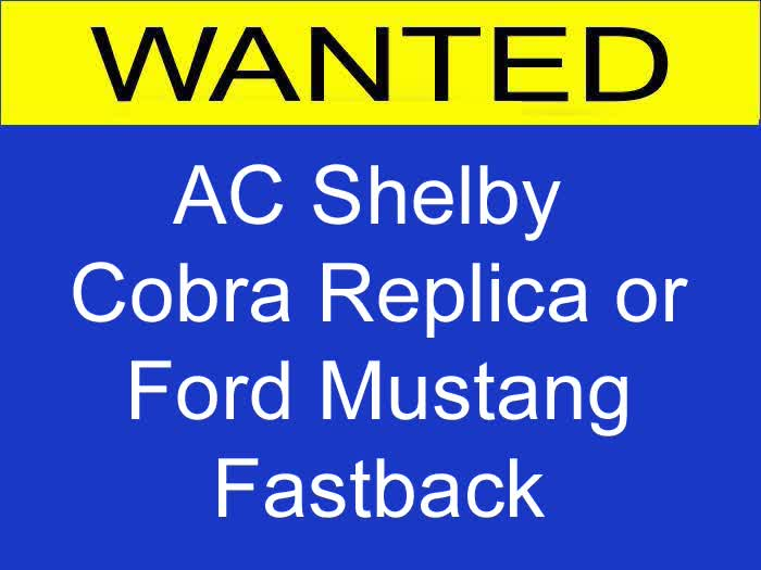 WANTED: AC Shelby Cobra Replica or Ford Mustang Fastback