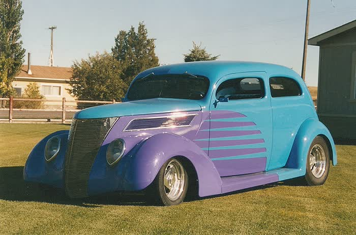 1937 Ford All Steel Slant Back with Custom Trailer